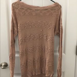 Blush open knit sweater with a few flaws